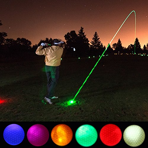 Vbestlife 4/5/6pcs Night Golf Balls LED Lighting Golf Balls Long Lasting Reusable Bright Night Glow Electronic Golf Ball for Dark Night Sport Practice Training (Pink+Yellow+Green+Blue+Red) -