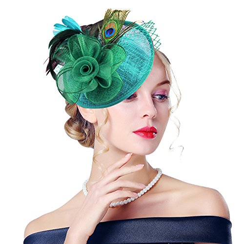 Edith qi Lady Retro Peacock Cocktail Fascinators Sinamay Derby Hats for Wedding Party Green