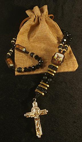 angel Cut Crystal Hand Crafted Black & Golden Elegant Rosary. (Black Hand Cut Crystal)