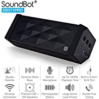SoundBot SB571PRO Bluetooth QUADIO Satellite Portable Wireless Speaker w/ Multi-Unit Multi-Point Connectivity for Up to 4 Master/Slave Unit Simultaneous Surround Sound, HD 5W+5W Acoustic 2x50mm Driver