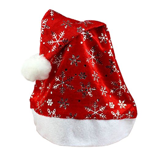 Tenworld Gifts Red Christmas Hat Merry Xmas Santa Claus Cap For Adult (Silver) (Santa Claus Cap)