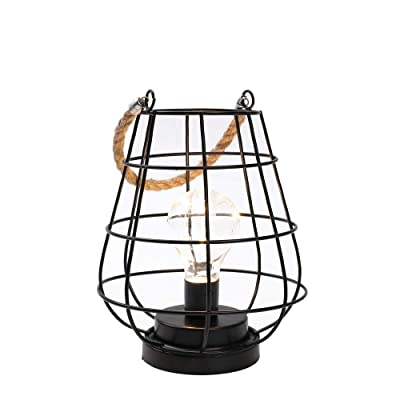 "JHY DESIGN 8.5"" Cage Bulb Lantern Decorative Lamp Battery Powered Cordless Accent Light with Warm White Fairy Lights LED Edison Bulb Lamp for Living Room Bedroom Kitchen Wedding & Christmas (Black): Home & Kitchen"