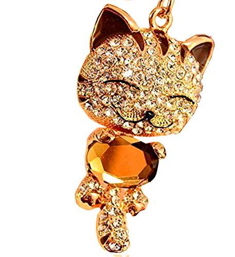 Coffee Cute Kitten Cat Bling Crystals Rhinestone Key Chain Keyring Holder Handbag Charm