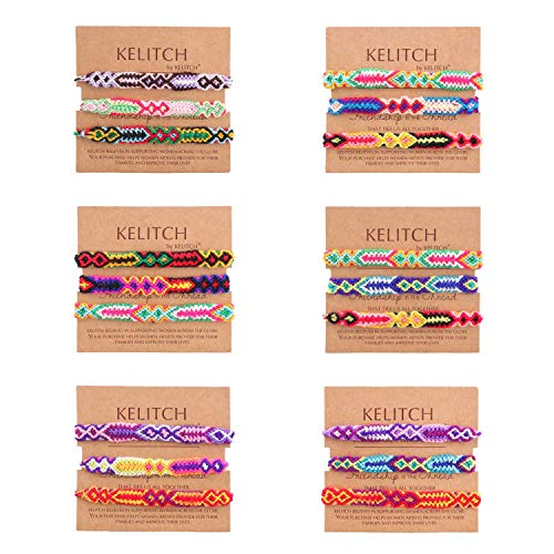 KELITCH Bohemia Tassels Cuff Bracelet Handmade Macrame Knotted Colour Candy Wide Friendship Bracelet 3 Pcs (Blue)