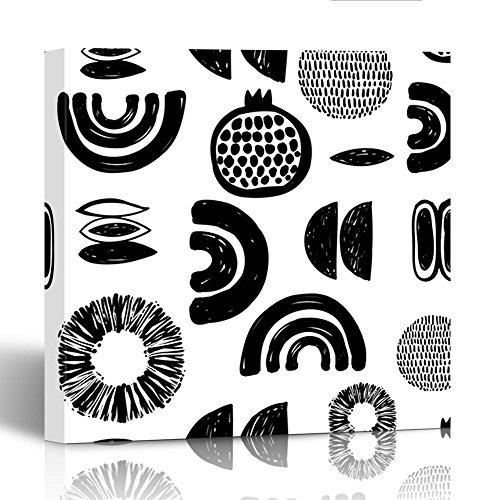 Price comparison product image Emvency Painting Canvas Print Square 12x12 Inches Monochrome Minimalistic Tribal with Pomegranate Ethnic Sun Crescent Seed Maize Wall Art Decoration Wrapped Wooden Frame