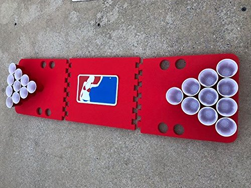 Red Major League Foam Beer Pong Table - 6ft, Foam, All Weather, Portable - Floats Anywhere