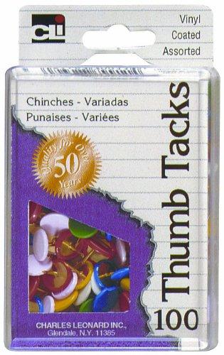 Charles Leonard Thumb Tacks in Reusable Box, Vinyl Coated, Assorted Colors, 100-Pack (79911)