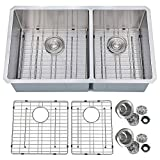 PRIMART PHU33DO Handcrafted 33 X 19 Inch 60/40 Double Bowls 16 Guage Undermount Stainless Steel Kitchen Sink w/Bottom Grid Sink Strainer