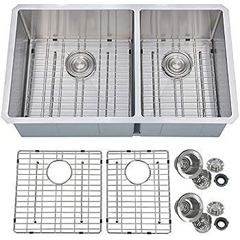 BOANN UMR3219D2 Hand Made R15 60//40 Double Bowl 32 x 19-Inch Undermount 304 Stainless Steel Kitchen Sink 16-Gauge