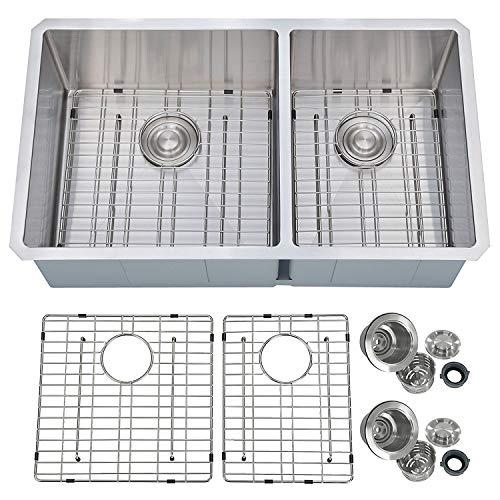 - PRIMART PHU33DO Handcrafted 33 X 19 Inch 60/40 Double Bowls 16 Guage Undermount Stainless Steel Kitchen Sink w/Bottom Grid Sink Strainer