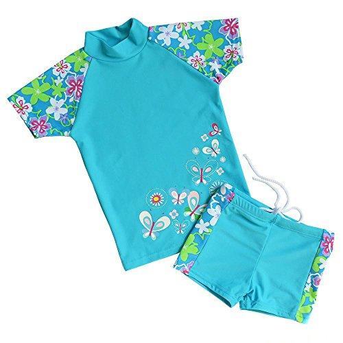 TFJH Girls Swimsuit Blue 7-8 Years UPF 50+ UV
