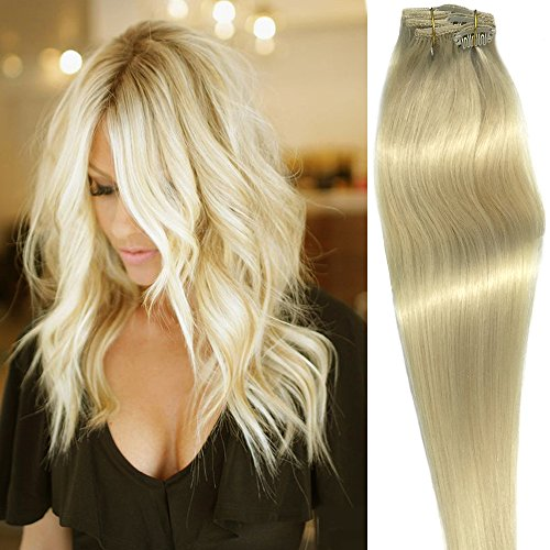 Clip in Hair Extensions Human Hair 7 Pieces 70g Platinum Silky Straight Weft Remy Real Hair (22 inches, #60) ()