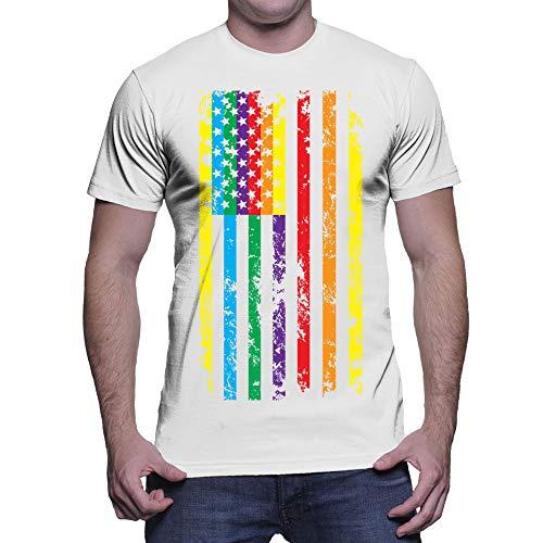 Men's Big Rainbow American Flag T-Shirt (White, Medium) - White T-shirt Marriage Gay