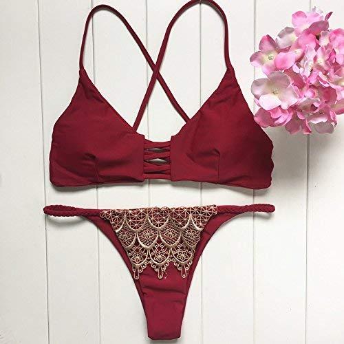 Costume Bikini M Qiusa Bagno Dimensione Europeo In L colore Rosso Tre Pizzo Da E Dorato Punte Americano A wRdtqdB