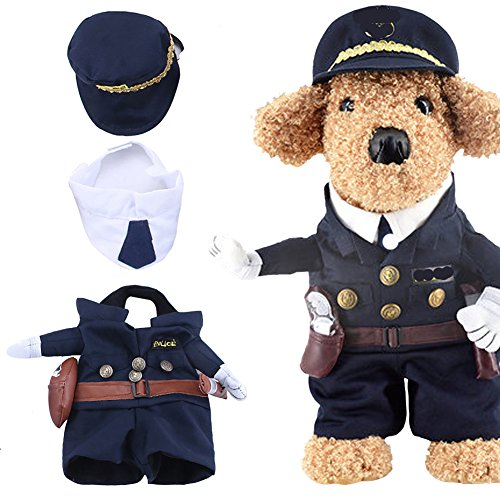 Yarssir Pet Policeman Costumes Cop Clothes Cosplay Dog and Cat Halloween Suits(Police-S)