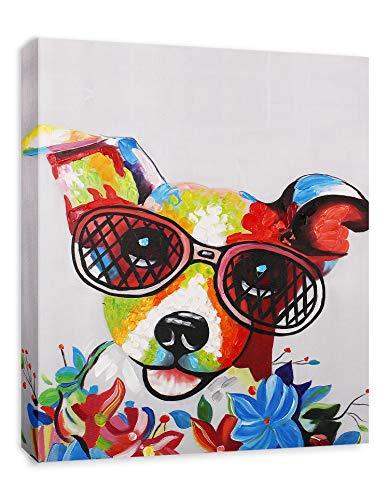 - Modern Pop Art Decor - Framed - Happy Jack Russell Terrier with Glasses Animal Art Canvas Print Home Decor Wall Art, Gallery Wrap Inner Frame, 7x9