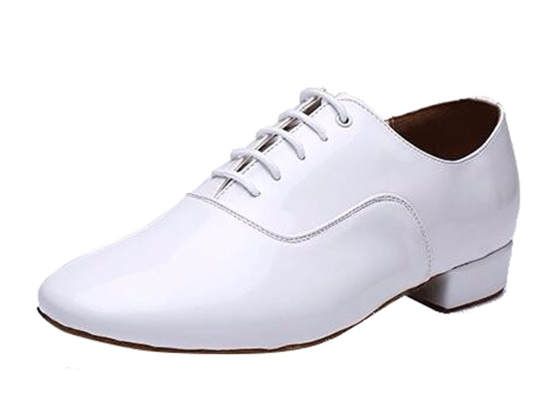 TDA Men's A3002 Classic Lace-up White Leather Tango Ballroom Salsa Latin Dance Wedding Shoes 7 M US by TDA