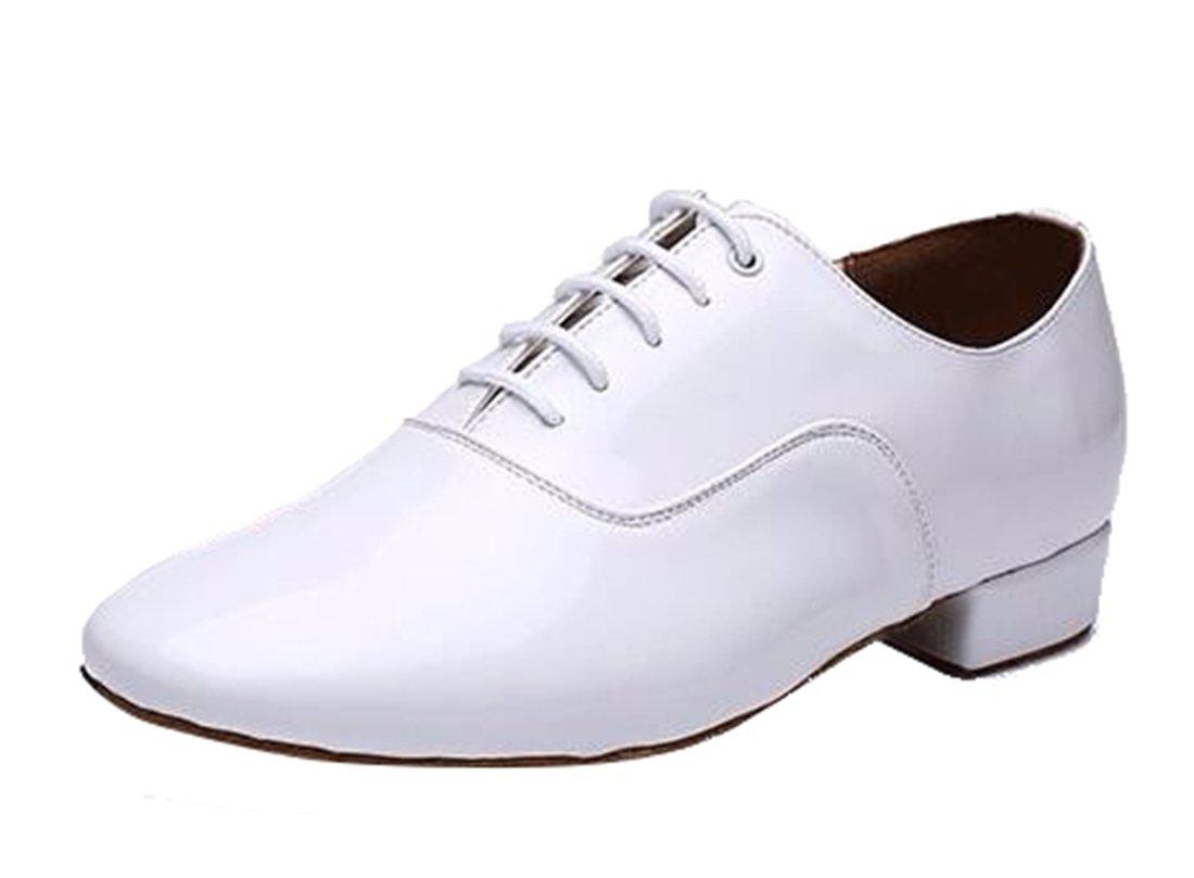 TDA Men's A3002 Classic Lace-up White Leather Tango Ballroom Salsa Latin Dance Wedding Shoes 8.5 M US