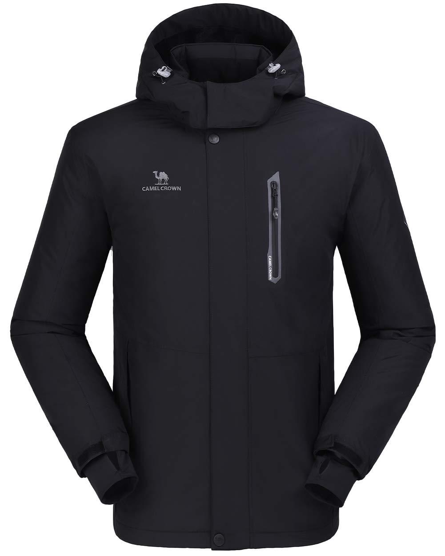 CAMEL CROWN Ski Jacket Men Waterproof Warm Cotton Winter Snow Coat Mountain Snowboard Windbreaker Hooded Raincoat Black M by CAMEL CROWN