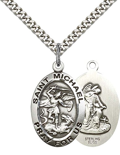 Sterling Silver St. Michael the Archangel Pendant with 24' Stainless Silver Heavy Curb Chain. Patron Saint of Police Officers/EMTs