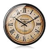 JYY Ronda Reloj De Pared Retro,Creativo Clásico Reloj Silencioso para El Dormitorio De La Sala De Cocina,2 Tamaños, 2 Estilos (Color : Roman Numerals, Size : 14inch)