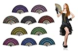 OMyTea''Peacock'' Folding Hand Held Fans Bulk for Women - Spanish/Chinese/Japanese Vintage Retro Fabric Fans for Wedding, Church, Party, Gifts (Mixed Colors, 10pcs)