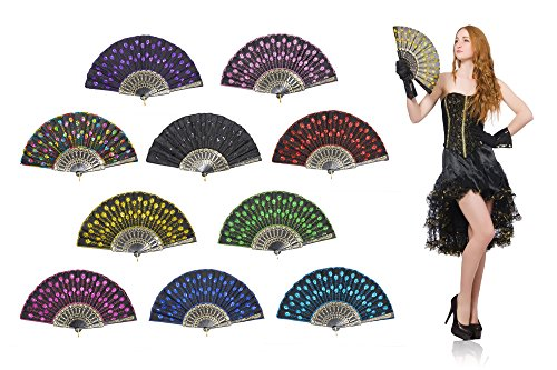OMyTea Peacock Folding Hand Held Fans Bulk for Women - Spanish/Chinese/Japanese Vintage Retro Fabric Fans for Wedding, Church, Party, Gifts (Mixed Colors, 10pcs) - Make Chinese Fan