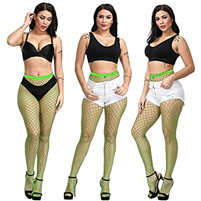 Bestsen High Waist Tights Fishnet Stockings Thigh High Stockings Pantyhose, Green, One Size at Women's Clothing store