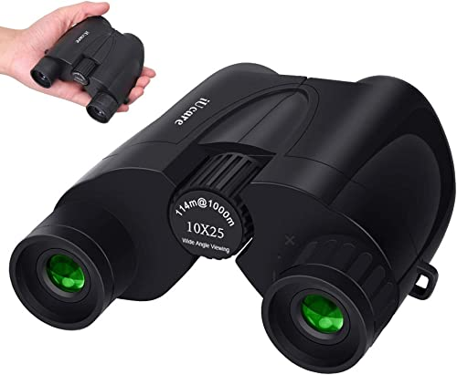 Binoculars,10 X 25 Portable Pocket Folding Binoculars Compact Low Light Night Vision Large Eyepiece High Power Waterproof Binoculars for Adults Kids Travelling Sightseeing and Outdoor Activities