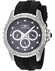 Invicta Womens Angel Quartz Stainless Steel and Polyurethane Casual Watch, Color:Black (Model: 21903)