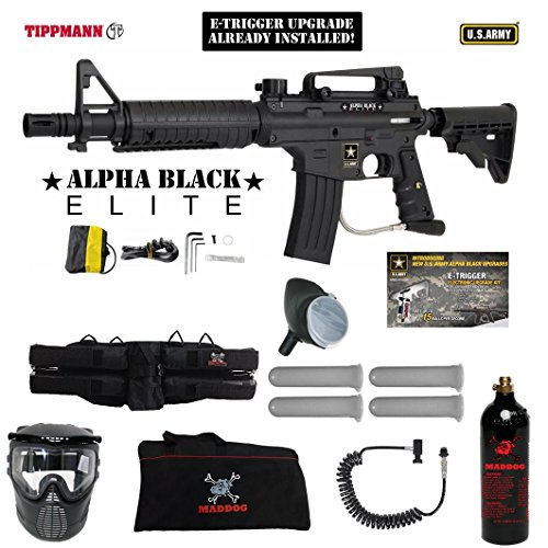 MAddog Tippmann U.S. Army Alpha Black Elite Tactical w/E-Grip Specialist Paintball Gun Package - Black