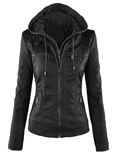 Springrain Women's Casual Stand Collar Detachable Hood PU Leather Jacket (Small, Black) ()
