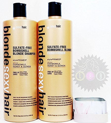 Bombshell Hair Blonde (Blonde Sexy Hair Sulfate-free Bombshell Blonde Shampoo & Conditioner 33.8 Oz + FREE MATRIX CANDLE (Description: Sulfate free, Chamomile, Honey, Quinoa, Bright Hair, Hydrated and Strong.))