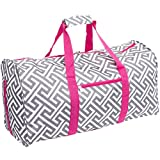 Silverhooks Greek Key 22'' Duffle Travel Bag w/Pink Trim (Grey & White)
