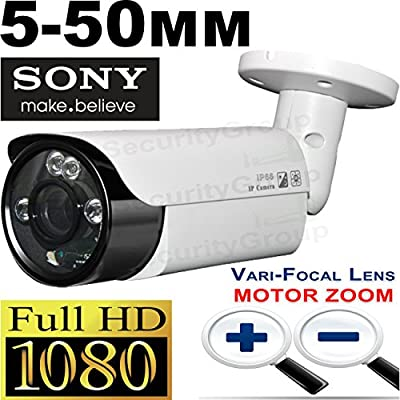 USG 2MP 1080P Motorized 5-50mm Lens Bullet Security Camera : 5-50mm Remote Zoom & Focus 10x Varifocal Lens, Weatherproof, 4x IR LEDs 200ft Night Vision : 4-in-1 CCTV Format HD-TVI, HD-CVI, AHD, Analog by Urban Security Group