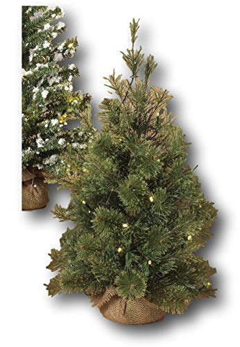 Gerson 24in Pre-Lit Christmas Holiday Tree in Burlap Base White Lights Patio or Tabletop Battery Operated (Fuzzy Pine)