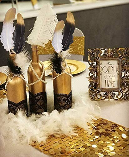 31 PCS JeVenis Gorgeous Black and Gold Dipped Feather Balck Feathers White Pearl Bead Necklaces for 1920's Wedding Cake Decoration Gastby Theme Table Decorations