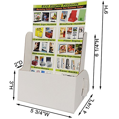 Products Display Affordable (White Cardboard Pamphlet Holder - Holds 5 3/4 x 9 Pamphlets or Digests (Carton of 25))