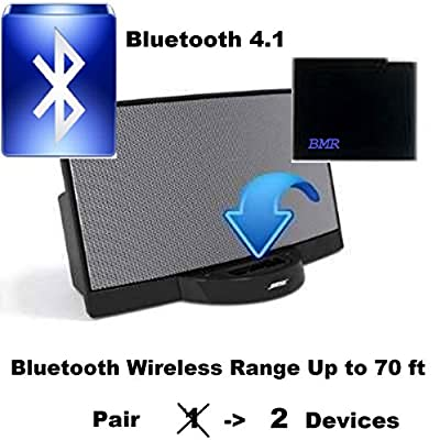 BMR A2DP Bluetooth Adapter Bluetooth Music Receiver Adapter for Bose Apple 30 Pin SoundDock Speaker Bluetooth 4.1 Extra Long Wireless Range Up To 70 ft; iPhone, Samsung, Nokia, HTC, LG, Echo Alexa from BMRMusicTechnology