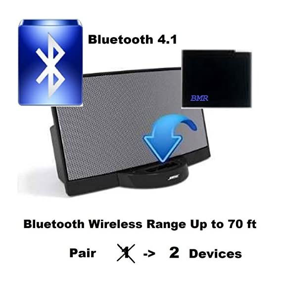 BMR A2DP 4.1 Bluetooth Music Receiver Adapter for Bose SoundDock, 30 pin Docking Station, iPhone, Samsung, Nokia, HTC, LG, Echo Alexa 1 If you are tired of out of sync and need to re-sync when walking out of the bluetooth signal working range (~ 20 ft), this long wireless range 30 pin bluetooth music receiver is the solution.