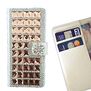 - Gold Bow Bownot/ Slot Card Flip Case Cover Skin Bling Rhinestone Crystal Leather - Cao - For Samsung Galaxy S4 Mini I9190 I9192
