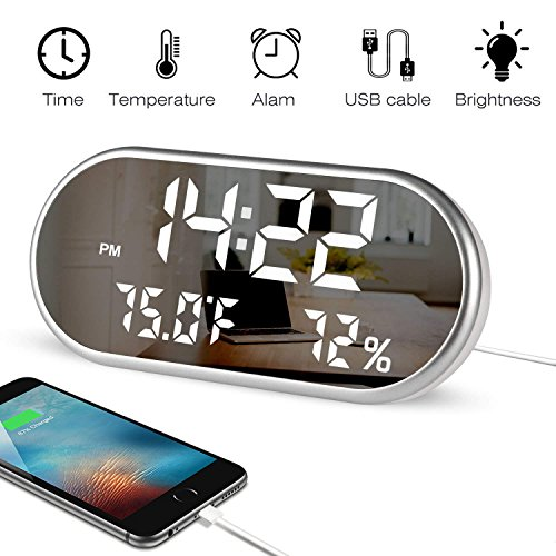 MJDUO Digital Alarm Clock,Portable Mirror Large LED Display,Dual USB Port Charging, Easy Set Three Alarms,Temperature and Humidity Clock for Bedrooms