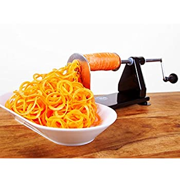 ICO 4-Blade Spiralizer Vegetable Slicer, Stronger than all Plastic Spiralizers with 3 Interchangeable Blades and 1 Built-In, Black