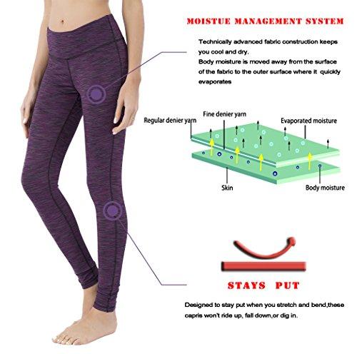 Queenie Ke Women Power Stretch Plus Size High Waist Yoga Pants Running Tights Size XXL Color Space Dye Purple