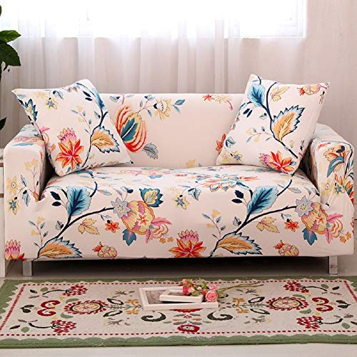 HOTNIU 1-Piece Stretch Sofa Couch Covers - Spandex Printed Loveseat Couch Slipcover - Arm Chair Furniture Cover/Protector with One Free Pillowcase (Loveseat, Pattern - Loveseat Arm One