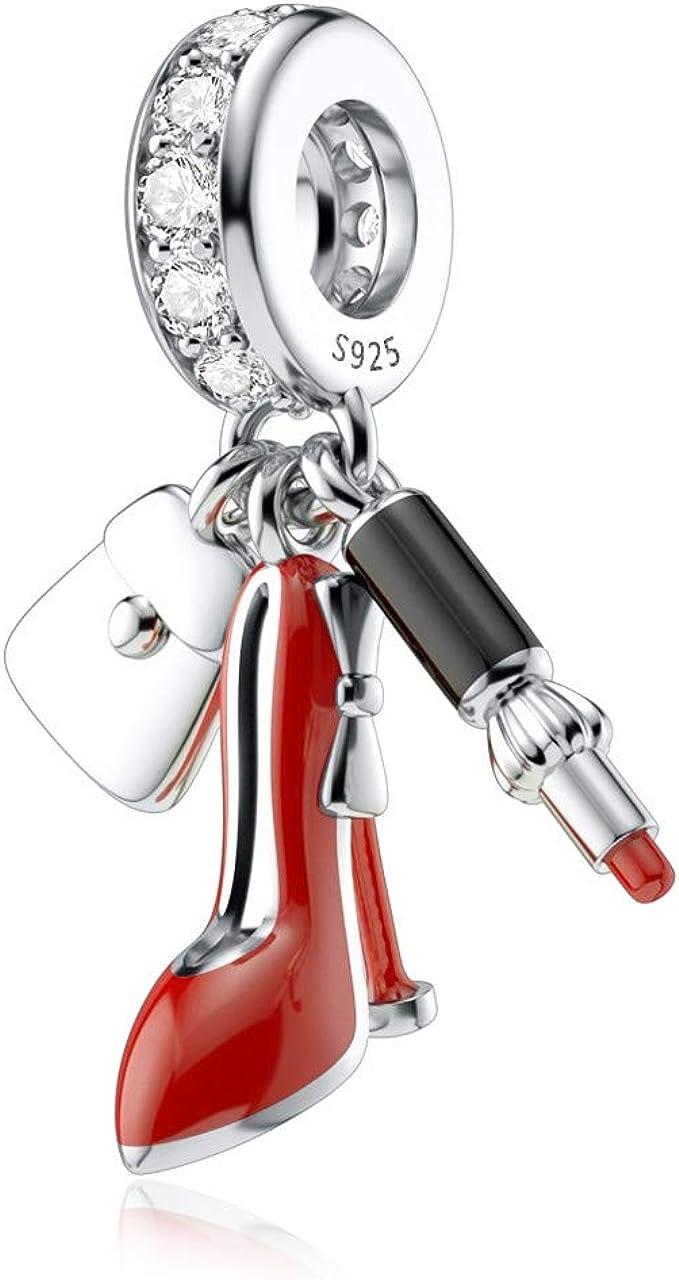 Amazon Com Dalaran High Heel Shoes Charms For Pandora Sterling Silver Red Enamel Lipstick Dangle Charm Pendant For Women Gift Clothing