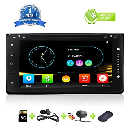Car Stereo Bluetooth HD Radio Double Din In Dash GPS Navigation for Toyota Universal 6.95 Inch Full Touch Screen Car DVD CD Player Head Unit With Bluetooth Mirror Link Backup Camera SD Card by Malanzs