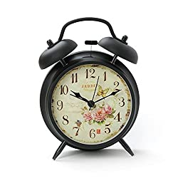 Innolife 4 Quiet Non-ticking Silent Quartz Analog Retro Vintage Bedside Twin Bell Alarm Clock With Loud Alarm and Nightlight (Butterfly with Flowers)