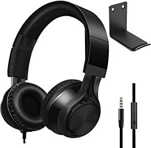 Over Ear Headphones with AluminumHeadphone Stand Hanger, SourceTon 3.5mm Gaming Headset Noise Isolating with Mic and Volume Control for TV, PC and Cell Phone