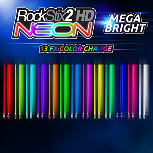 Pair Of LIGHT UP DRUMSTICKS by ROCKSTIX: 2 HD BRIGHTER NEON COLOR CHANGE, MEGA BRIGHT - LED LIGHT UP DRUMSTICKS (Color Drumsticks)